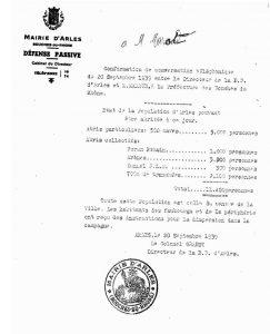 Défense passive, abris destinés à accueillir la population, 20 septembre 1939, (Arch. Arles, H866)