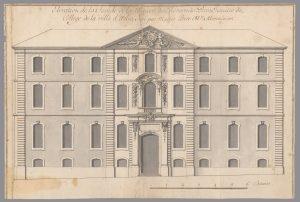 Collège des Révérends pères Jésuites - 1Fi 335 (GG 1 ; F° 10) Élévation de la façade de la maison des révérends pères Jésuites du collège de la ville d'Arles.Projet de J.B Perre, Maître menuisier Dessin aquarellé sur papier - 48,5 x 32,5 - éch. 6 cannes