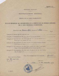 Les différentes catégories de cartes d'alimentation en janvier 1940 (Arch. Arles, 137)