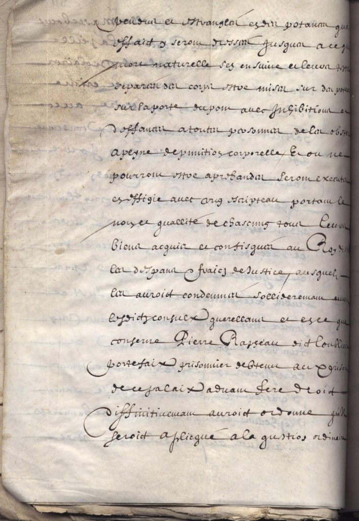 Arrêt d'exécution du Parlement de Provence de la sentence de mort rendue par le lieutenant du Sénéchal au siège d'Arles 25 Mai 1637, Archives communales d'Arles, FF-2, f°311v°