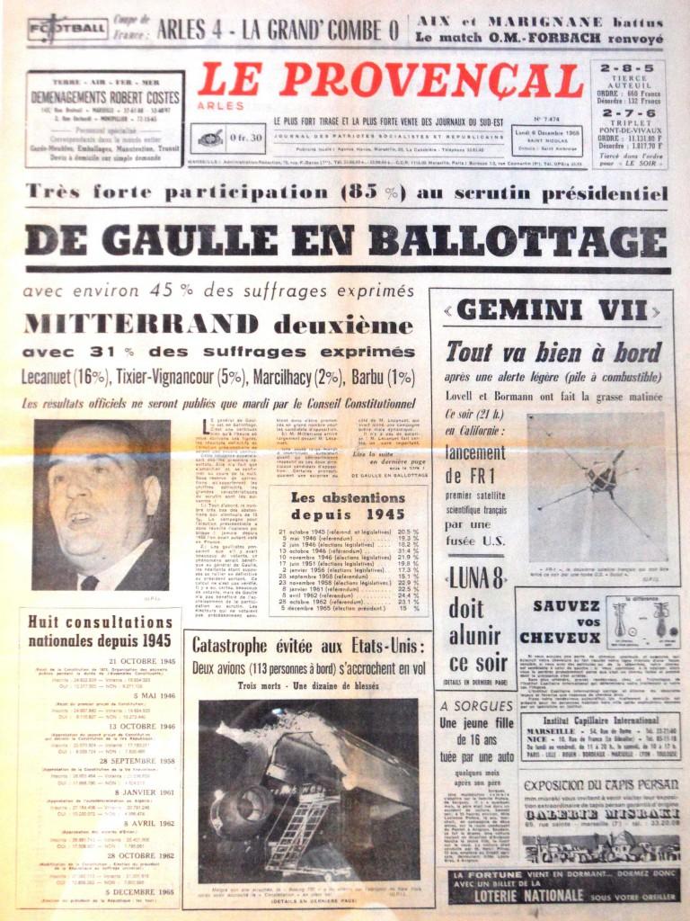 Document 1 : Première page «le Provençal» du 6 décembre 1965