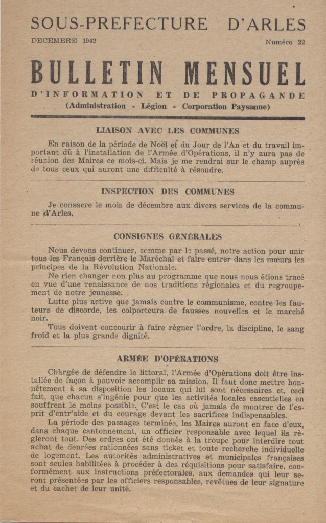 Document 2 : Bulletin mensuel d'information et de propagande n° 22 décembre 1942 de la sous-préfecture d'Arles (H237).