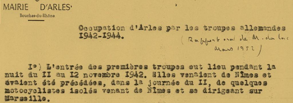 11 novembre 1942, occupation de la zone Libre, entrée des troupes allemandes dans Arles