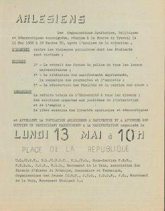 Tract des organisations syndicales à l'issue de la réunion du 11 mai 1968 (Archives Communales d'Arles, 32S291)