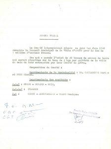 Procès-Verbal du comité intersyndical du 1er juin 1968 remerciant la municipalité de son soutien (Archives Communales d'Arles, 32S291)