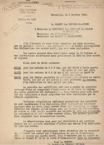 Classification des cartes d'alimentation pour le lait en octobre 1940 (Arch. Arles, 98)