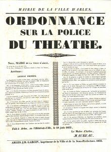 Ordonnance sur la police du théâtre, 1833 (ACA, R25)