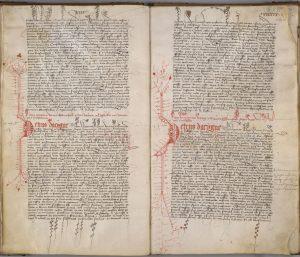 AA7 folios 34 verso et 35 recto : Lettres du sénéchal de Provence Pierre d'Acigné (1405-1423) datant de 1410, montrant la richesse et le soin apportés au décor notamment à la lettrine P