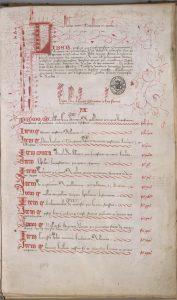 AA7, Premier folio commençant par une invocation divine à l'encre rouge, suit la présentation du manuscrit introduite par la lettrine L richement ornée et dont le décor s'épanche dans la marge, vient enfin le début de la rubrique avec la lettre A.