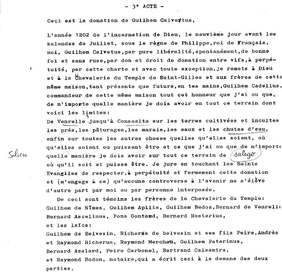 Authentique de Saint-Gilles (1201-1202), AC Arles, GG90, traduction M. Lebourgeois. nb: cette traduction n'est pas celle de l'acte photographié précédemmentourgeois