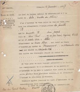Document 1: Lettre avis de décès du bureau spécial de comptabilité du 2ème régiment de montagne de Nice adressée au maire d'Arles