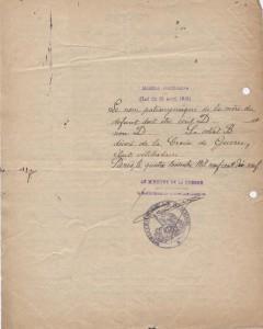Document 2:  Verso de l'acte  de décès militaire du 6 août 1920