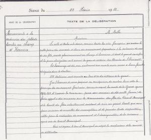 Arch. com. Arles, D43 p133-134, délibération de la ville d'Arles du 22 février 1919 concernant l'érection d'un monument des soldats tombés au champ d'honneur »