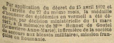 Décret décernant la médaille d'honneur des épidémies à Hennet de Goutel