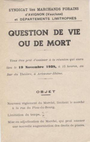 Tract du Syndicat des commerçants non sédentaires de Vaucluse et départements limitrophes, 1938 - A.C. Arles F99