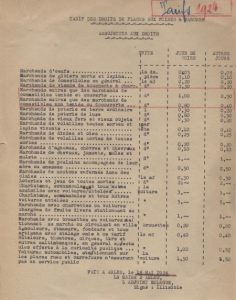 Droits de place et de stationnement aux foires et marchés, tarif 1924 – A.C. Arles F99