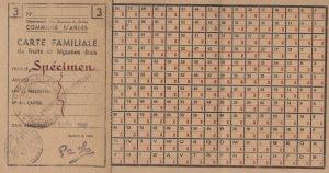 Spécimen de carte familiale de fruits et légumes de la commune d'Arles, [1942] - A.C. Arles - F138
