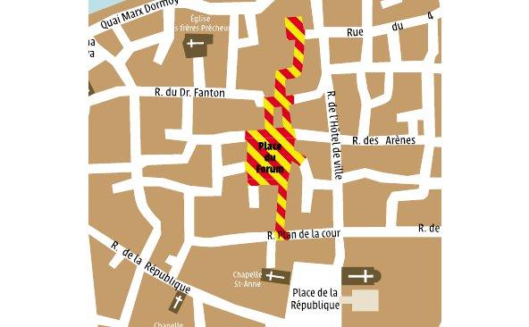 Plan du chantier place du Forum